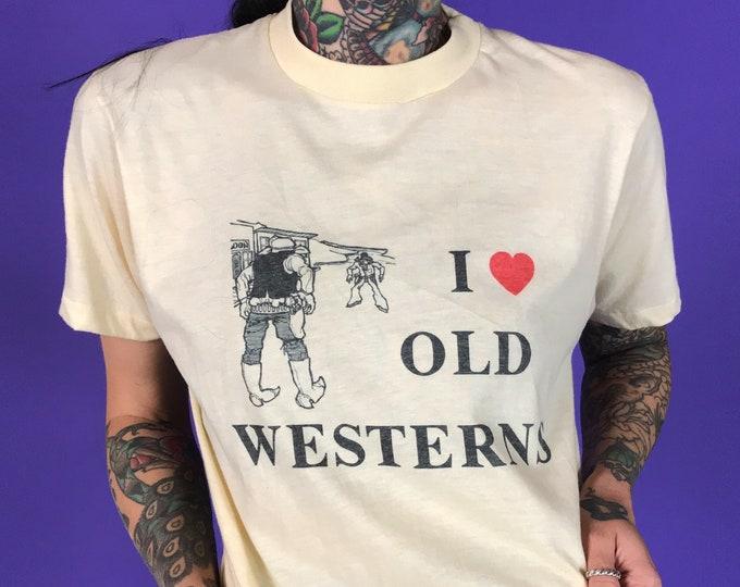 "70's ""I Love Old Westerns"" Single Stitch Short Sleeve Graphic Tee Unisex S/M - Rare VTG Retro 50/50 Westerns Short Sleeve Tee Cream Beige"