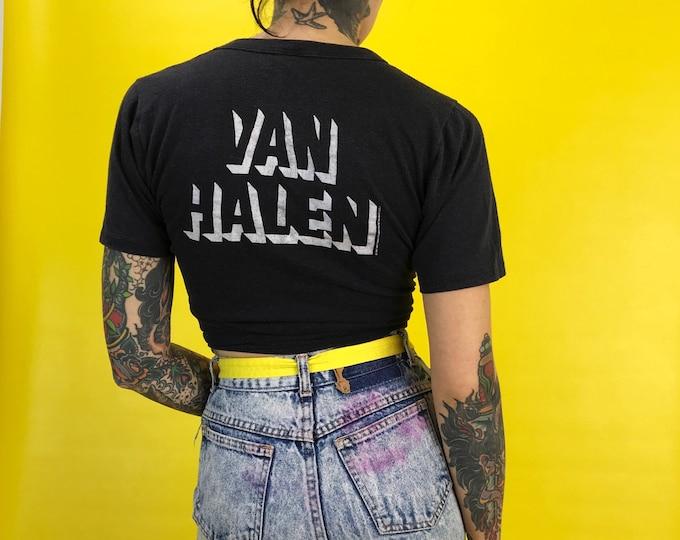 1980 Van Halen Thin Invasion World Tour Rock Concert Tee Shirt XS/S - Van Halen Authentic Charcoal Band Shirt Vintage Soft Thin Tour Tee