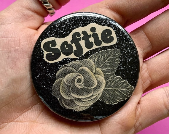 """2.25"""" Handmade Collaged Pinback Button - Large Upcycled SOFTIE Typography Black Glitter ROSE - Unique Wearable Paper Art Big Pin /Button"""
