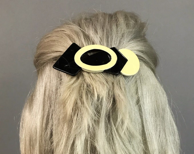 80's Geometric Ceramic Hair Clip - Black & White Retro Cool Accessory Fashion Hair Bow - Handmade Ceramic French Clip Statement Hair Barette