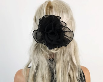 90's Black Hair Bow Basic French Clip - Large Bow Clip Goth Mesh Statement Hair Barrette - Nineties Sheer Goth Hipster Grunge Hair Accessory