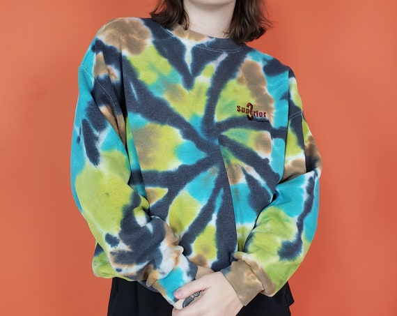 Hand-dyed Tie Dye Pullover Sweatshirt - XL Womens Mens Unisex Tiedye Sweater - Extra Large Black Green Blue Dyed Longsleeve Pullover Top