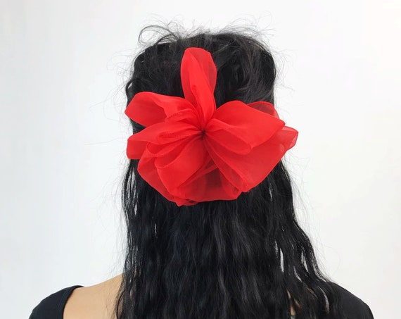 90's Cherry Red Giant Sheer Bow French Clip - Large Mesh Clip Hair Barrette - Statement Hair Clip Hipster Nineties Accessory BIG Big Bow