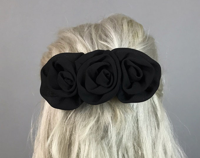 80's/90's Black Rose Handmade Bow Clip - Romantic Goth Girly Vintage French Clip Hair Barrett - Oversized Big Basic Black Bow Hair Accessory
