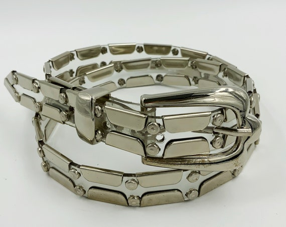 90's Clear Silver Metal VINTAGE Jelly Belt - See Through PVC Belt with Silver Detail - Adjustable S/M Industrial Metal Goth Glam Accessory