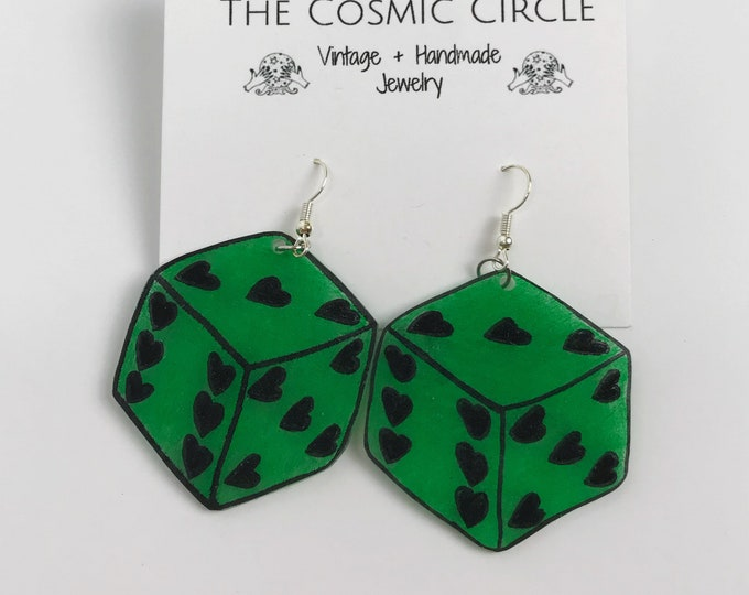 Green Dice Shrinky Dink Earrings - Large Trendy Plastic Jewelry Hand Drawn Funky Earrings - BIG Costume Jewelry Trendy Hipster Valentines
