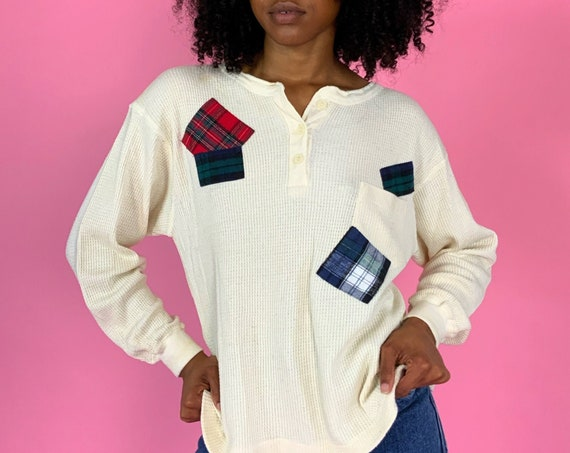 90's Thermal Long Sleeve W/ Patches Medium Women - Patched Plaid Waffle Knit Beige Grunge Casual FALL Top - Nineties Slouchy Patched Thermal