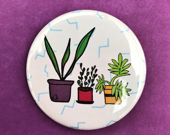 "2.25"" House Plants Drawing Pinback - Big Button Flowers Gardening Kitschy Cute Trendy Statement Pinback Button/Badge - Handmade Hand-drawn"