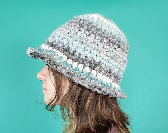 Handmade Crochet Bucket Hat - Unique Blue Grey Cloud Womens Knit Hat - Soft Handknit Pastel Blue Gray Stripe Upcycled Wool Yarn Bucket Hat