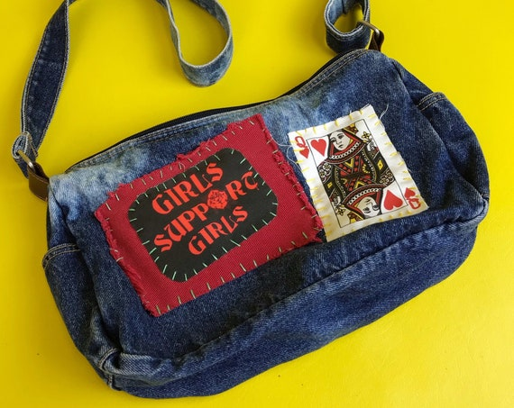 90's Girls Support Girls Tie Bye Patched Acid Wash Denim Purse Upcycled Hand Stitched  - Unique Feminist Patches Added Vintage Crossbody Bag