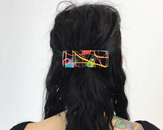 80's Rainbow Paint Splatter Hair Barrette French Clip - Artsy Colorful Abstract Fun Weird VTG Hair Bow - Handmade 80s/90s Large Hair Clip
