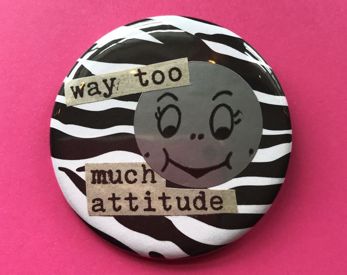 """2.25"""" Handmade Collaged MOON Pinback Button - Large Attitude Girly Cute Celestial Moon Face Button - Unique Recycled Typography Accessory"""