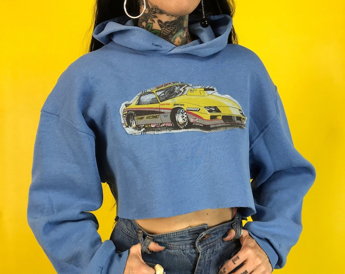 90's Cropped Hoodie w/ Racecar Patch Medium - Baby Blue Pullover Hooded Sweatshirt Remade UNIQUE Upcycled Fashion Trend - Baggy Crop Top