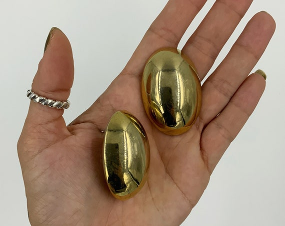 80's Vintage Gold Tone Statement Earrings Stud Pierced - BIG oversized Gold Plain Oval Retro Costume Jewelry - Eighties VTG Glam Earrings