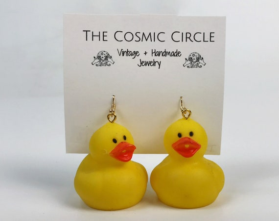Rubber Ducky Statement Earrings - Yellow Dangle Earrings FUN Summer Costume Jewelry Large Funky Earrings