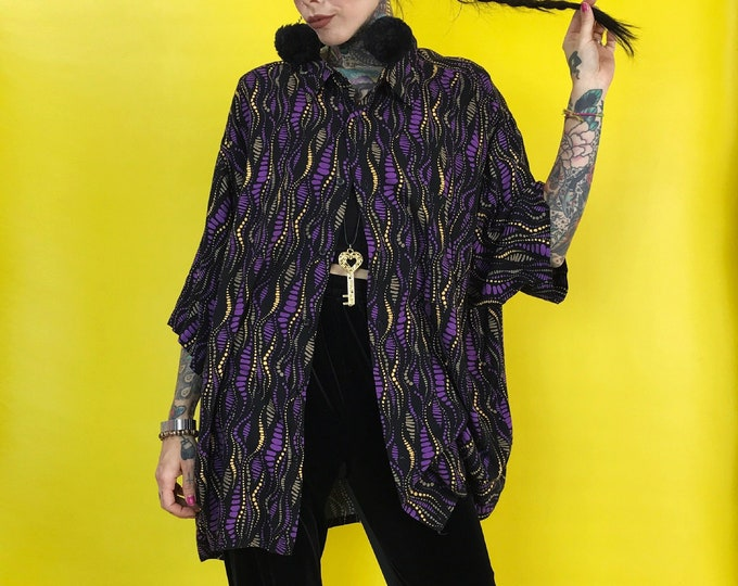 90s All Over Print Mens Short Sleeve Button Front Top 3XL Plus - Black Purple Yellow Rayon Button Up With Collar - Casual Abstract Menswear