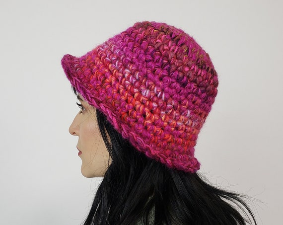 Handmade Crochet Bucket Hat - Unique Pink Multi Womens Knit Hat - Soft Handknit Fall Winter Upcycled Wool Yarn Bucket Hat Fuchsia Magenta