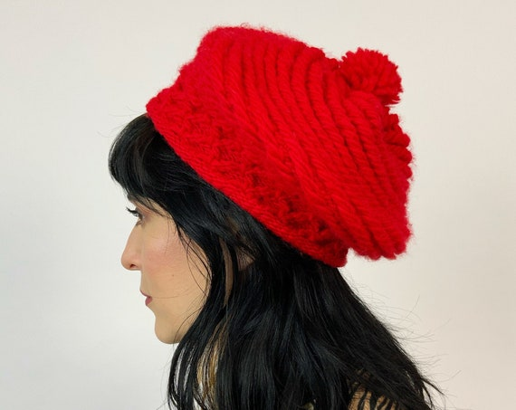 Red Knit Beret Hat Handknit Handmade Winter Fashion Hat - One Size Fit Knitted Red Ball Beanie - 70's Stylish Womens Accessory Soft Fall Hat