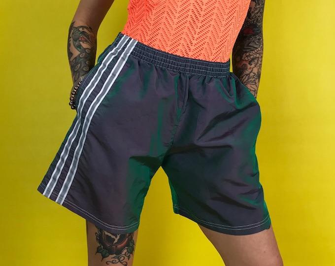 90's Iridescent Windbreaker Shorts Womens Small - Surf Style Striped Leg Sporty Beach Wear - Elastic High Waist Green Iridescent VTG Shorts
