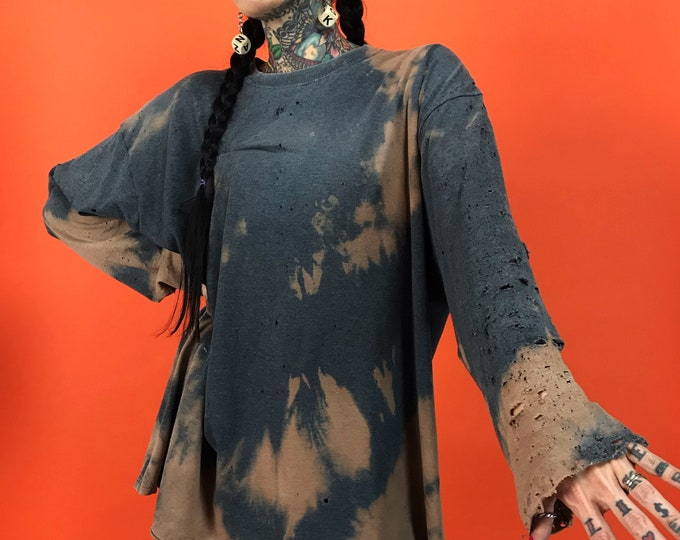 Destryoed Holey Tie Dye Bleach Long Sleeve Unisex Tee Shirt XL Plus - Thin Loose Baggy Grunge Punk Tie Dye - Casual Dark Gray Brown Rustic