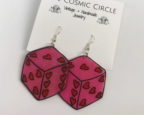 Pink Dice Shrinky Dink Earrings - Large Trendy Plastic Jewelry Hand Drawn Funky Earrings - BIG Costume Jewelry Trendy Hipster Valentines