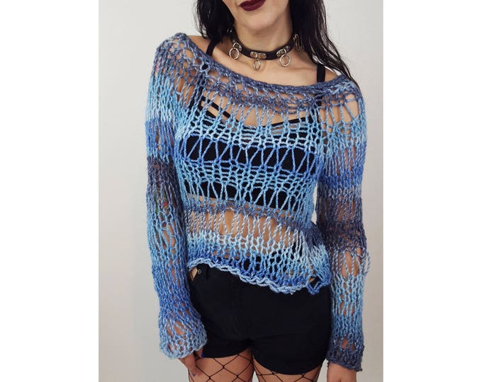 HANDMADE 90's Style Sheer Knit Long Sleeve Top - Womens Small Holey Grunge Top - Open Holes Sheer See Through Top - Women's Eco Friendly Top