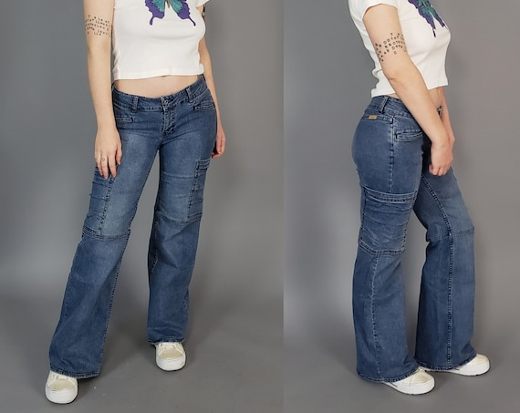 Y2K Vintage Low Rise Tommy Hilfiger Flare Jeans Size 9 - Low Waist Bootcut 2000's Cargo Jeans - Stretchy Denim Flared Jeans Women's Medium
