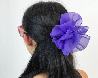 90's Pastel Purple Mesh Bow French Clip - Large Mesh Statement Hair Barrette - Big Hair Clip Hipster Nineties Accessory BIG Purple Big Bow