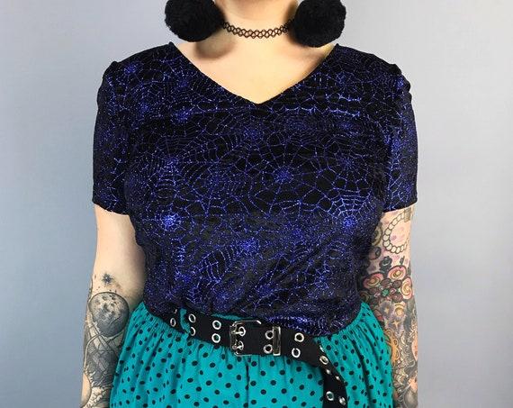 Glittery Spider Web Shirt Medium - Black Blue Spooky Cute Halloween Allover Print Top - Goth Trend VTG Glitter Purple Blue Spiderwebs Tee