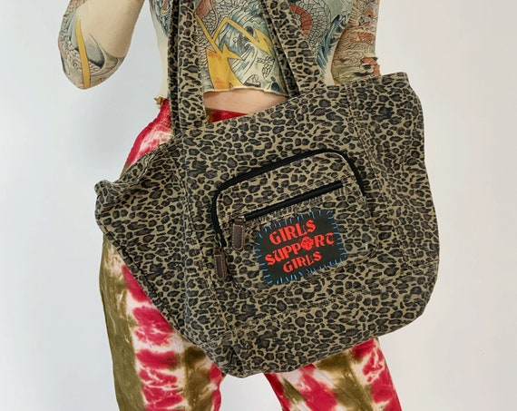 """Upcycled """"Girls Support Girls"""" Patched Leopard Tote Bag - Large Oversized Cheetah Print Shoulder Bag - Unique Grunge DIY Patch Hand Stitched"""