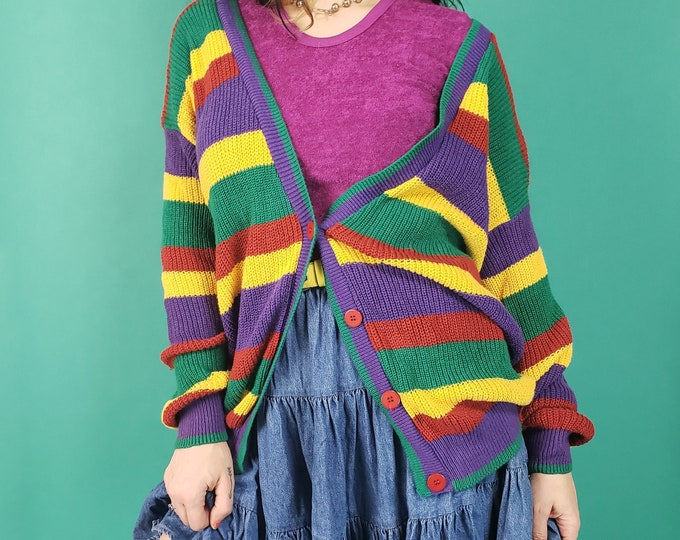 80's Rainbow Striped Womens Cardigan Sweater Small - Colorful Horizontal Striped Retro Knitted Jumper - Cute Girly Vintage Knit Top