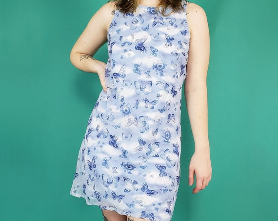 90s y2k Vintage Blue Butterfly Cloud Print Mini Dress - Medium Grunge Sundress - 1990s Sleeveless Short Dress with Cloud Print Lining