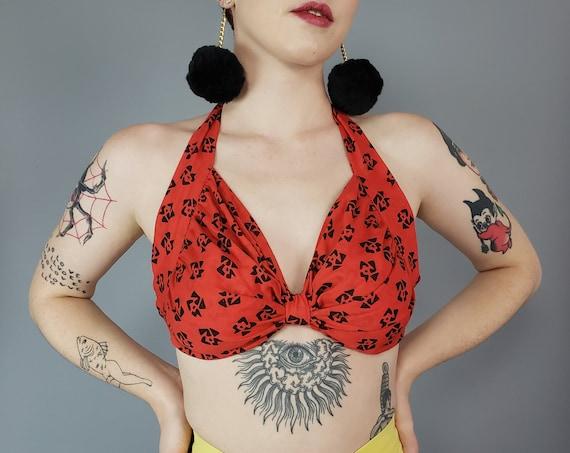 90s Vintage Red Bow Print Handmade Bra Top - Bralette Cami Summer Halter Top - Medium Vtg Cropped Sleeveless Open Back Crop Top