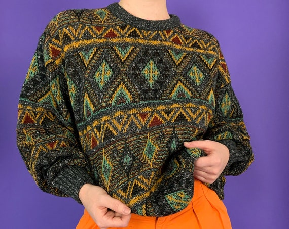 80's Colorful Knit Pullover Unisex Large - Vintage Textured Knitted Acrylic Wool Blend Colorful Dad Crew Neck Everyday Pullover Casual Knit