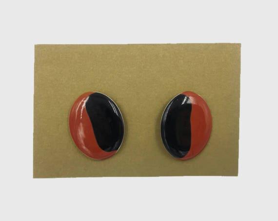 80's Two Tone Oval Statement Earrings - Vintage Metal Enamel Earrings - Black & Brown Earthy Tones Earrings Vtg Retro Post Back Earrings
