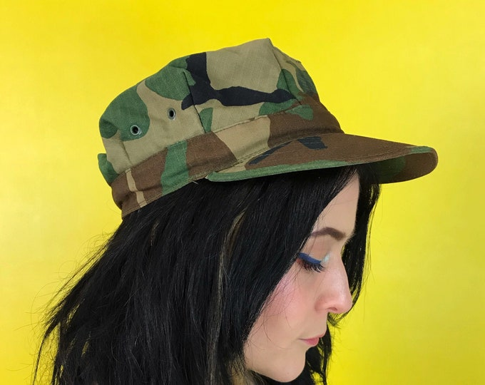 Camouflage Uniform Military Hat Green Brown Men/Women Vintage Accessory - 90's Marine Patrol Hat Fitted Camo Hat Green Printed Brim Hat