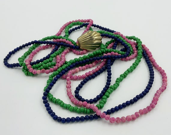 Vintage 3 Strands Bead Necklaces 60s/70s Retro - Long Colorful Stacking Seed Bead Necklaces Tri-Color Layering Strands w/ Gold Shell Clasp