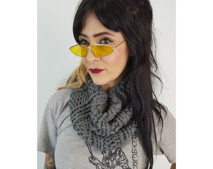 Hand Knit Upcycled Grey Circle Scarf - Boho Hipster Fashion Womens Accessory - Soft Warm Fall Womens Handknit Gray Ribbed Wool Cowl Scarf