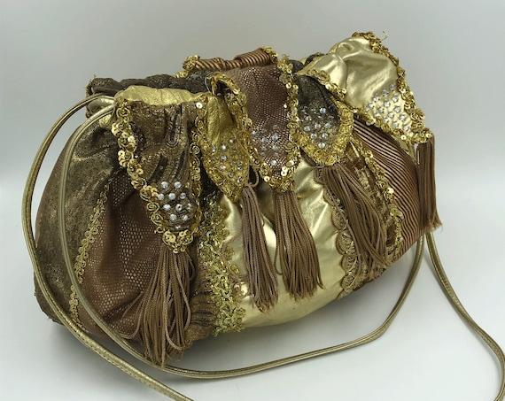 70's/80's Rita Diana For Mylinka Designer Purse - Hrinestone Glam Golden Slouchy Leather Drawstring Purse - Gold Glam Rare VTG Statement Bag