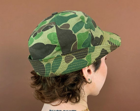 Handmade Camouflage Hat Vintage UNISEX - Green Brown Classic Camo Vintage Accessory - Printed Outdoor Sunhat w/ Printed Lining - Hunters Cap