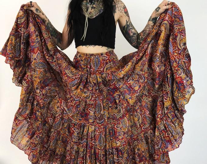 High Waist Tiered Circle Shirt Small - Boho Festival Indie Full Maxi Skirt Red Paisley Floral Statement Skirt - Flowy Ruffle Hem Long Skirt