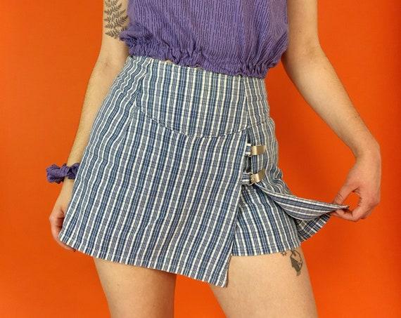 90's Vintage Plaid Mini Skort Small - Vintage Blue White Denim Skirt Shorts - Nineties Miniskirt with Shorts Underneath - High Waist SKORT