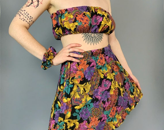 Reworked Vintage 3 Piece Matching Outfit Size 6/8 - Handmade Floral Tube Top + Skirt + Scrunchie Set - 80's Upcycled Reworked One Of a Kind
