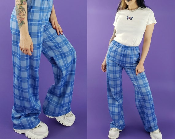70s Vintage High Waist Plaid Bell Bottoms Medium - Flare Wide Leg 1970s Vtg Pants - Vintage Pastel Blue Bellbottom Wideleg Pants