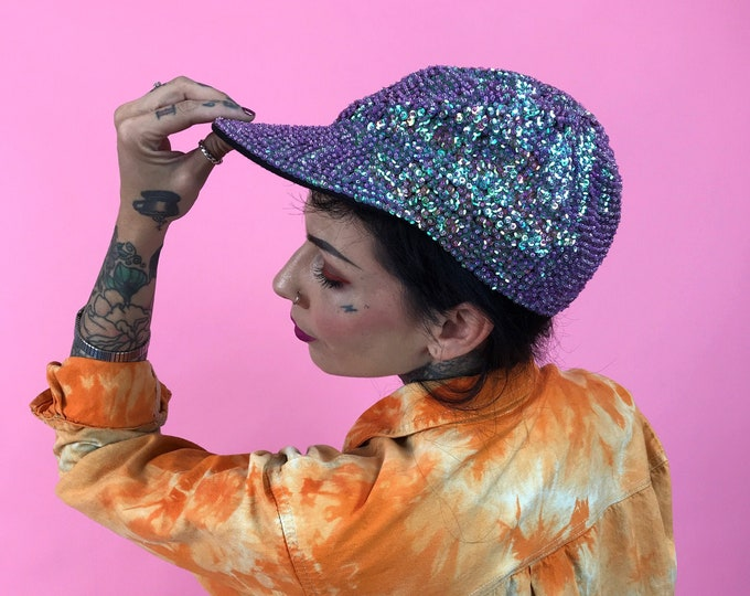 80's Purple Sequin Hat - Vintage Glam Baseball Cap Glittery Sequins All Over - Fun Weird Glitter Costume Dance Hip Hop Accessory VTG Sequin
