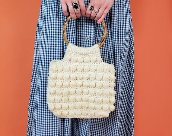 70's Vintage Handmade Crochet Purse - Crocheted Top Handle Clutch - 1970s Hand Knit Vintage Popcorn Stitch Cream Off White Handbag Purse