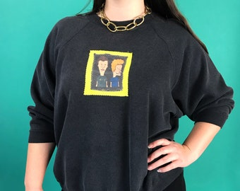 Beavis & Butthead Vintage Pullover Sweatshirt Womens 2X Plus - 90s Charcoal Black Grunge Rare MTV Cartoon Upcycled Patched Sweatshirt Remade