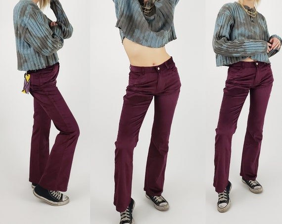 90s 2000s y2k Maroon Corduroy Pants - Medium Vintage Flared Pant - 1990s Mid Waisted Boot Cut Pants - size 9 Flare Pants with Original Tag