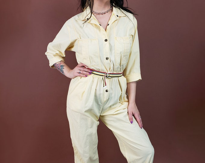 80's Pastel Yellow Jumpsuit Womens Small Medium - Pale Yellow Cotton One Piece Coveralls Pants Suit - VTG Retro Jumper w/ Pockets