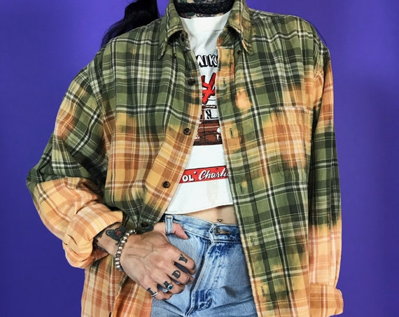 90s Bleach Tie Dye Rustic Orange Green Plaid Flannel Button Up Mens Large  - Grunge Boyfriend Flannel - Plaid Oxford Baggy Slouchy Flannel
